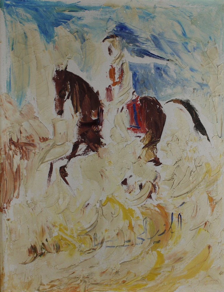 tableau Cavalier Arabe   animaux,personnage  huile toile