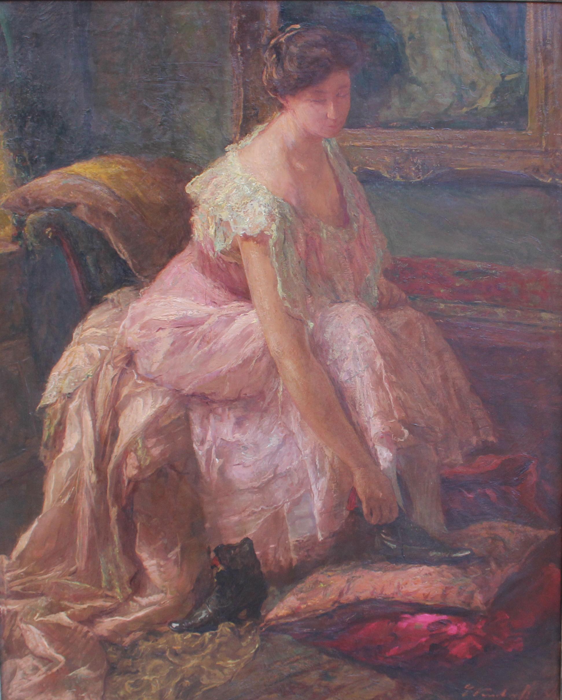 tableau L élégante Verschaffelt Edouard personnage,scène de genre  impressionnisme huile toile 1ère moitié b8cd6708f9e